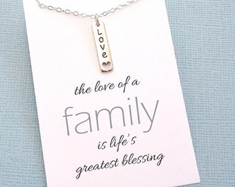Mothers Necklace | Love Bar Necklace | Long Silver Bar Necklace | Sentiment Card | Gift for Mom | Sterling Silver | FA05