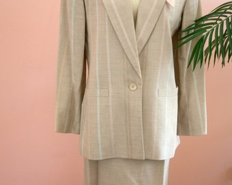 Tan Striped Two Piece Suit, Linen Suit, Work Attire, Striped Suit, Size 4 Suit, Pastel Stripes, Ladies Two Piece Suit, Business Attire