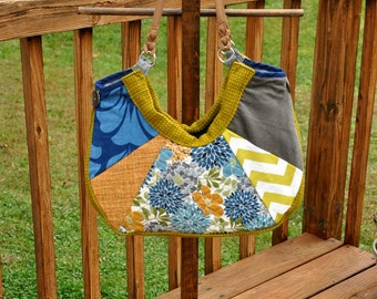 Large patchwork tote bag, beautiful multicolor purse, one of a kind womens shoulder bag, unique hobo bag, boho bag with many pockets