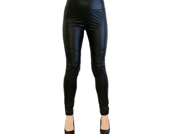 Black Faux Leather Leggings pleather matte leatherette 4-way stretch S M L 26 28 30 inseam punk goth pants high waist waisted