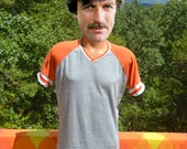 vintage 70s t-shirt v-neck ringer heathered gray orange tee Medium Small 80s rawlings
