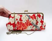 Clutch bag, red blossom vintage Japanese kimono fabric, evening purse