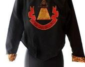 Desperately Seeking Susan style jacket black Sz. SMALL Gold Pyramid design on back