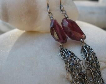 Raspberry Fringe Earrings