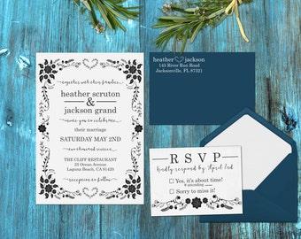 Wedding invitation stamp set DIY wedding invitations - Invitation, RSVP Return address stamp Floral Bohemian Invitation --13008-MULT-000