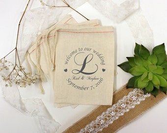 Custom Wedding Favor Bags, Muslin Bags, Personalized Wedding Favors, Welcome To Our Wedding, Couple's Names, 5 x 8  --64512-MB06-610