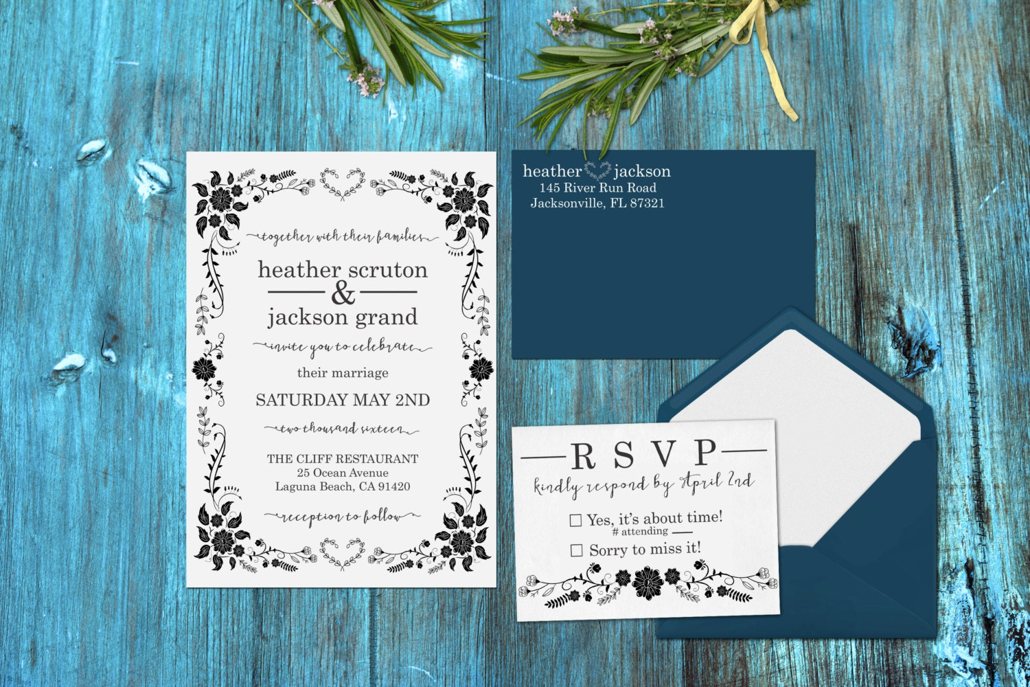 Wedding Invite Stamp: Wedding Invitation Stamp Set DIY Wedding Invitations