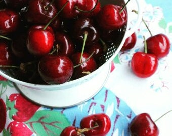 Life is a Bowl of Cherries - Ripe Red Bowl of Cherries - Vintage Style Still Life - Original Color Photograph by Suzanne MacCrone Rogers