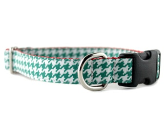 Green Dog Collar - Green and White Houndstooth Dog Collar - Green Dog Collar - Houndstooth Pet Collar - Holiday Collar - Christmas Collar