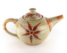Stoneware Teapot - 48 oz. - Sage Green Teapot with Sunburst - Individual Teapot - Pottery teapot - Ceramic teapot