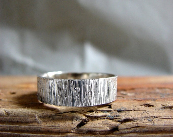 Tree Bark Sterling Silver Ring Wood Grain Wedding Band Ring Textured Rustic