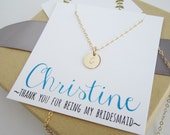 Personalized gold initial necklace, custom name card, bridesmaid thank you card, bridesmaid necklace, bridesmaid gift gold or silver initial