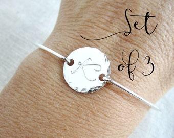 Bridesmaid bracelet, sterling silver initial bracelet, personalized bangle, set of 3, three bracelets, bridesmaid gift, custom silver bangle