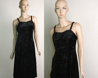 Vintage Black Crushed Velvet Dress - 1990s Goth Grunge Dress with Large Sweep Skirt - Small Medium
