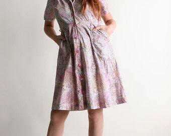 Vintage 1960s Cotton Floral Tree Dress - Light Pink Button Up Shirtdress - Medium Large