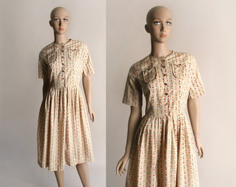 Vintage 1960s Tulip Print Dress - Cotton Oatmeal Floral Striped Print Day Dress - Small to Medium