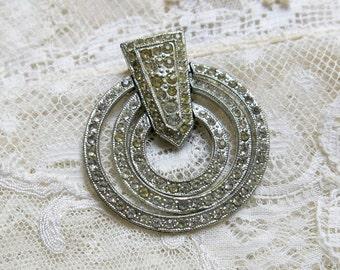 SALE ... Antique Rhinestone Dress Clip ... Singer & Kantor Pave Rhinestone Dress Clip...'swinging circles'...LB in bell hallmark...ATJ 80112