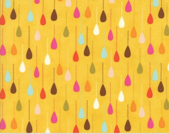 Boho fabric, Mustard fabric, Raindrops by Moda fabric, Fall fabric, Cotton fabric, Drops in Dandelion, Choose the Cut