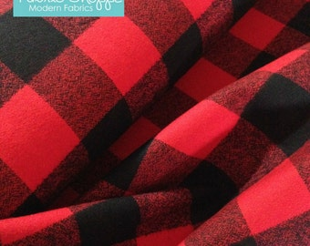 Buffalo Plaid, Mammoth Flannel fabric, Red Black Plaid, Flannel by the yard, Apparel fabric, by Robert Kaufman, Mammoth Flannel Red 763