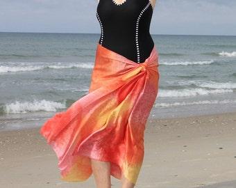 Summer Love ... hand painted silk satin sarong