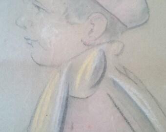 Vintage Pastel Drawing of Child Original Art 1920's