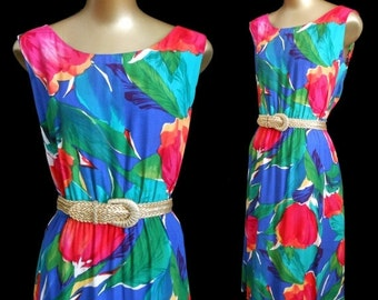 JULY SALE Vintage 70s Day Dress, 1970s Tropical Floral Print Sundress Sun Dress by Lanz, Royal Blue and Emerald Green and Hot Pink, Size L L