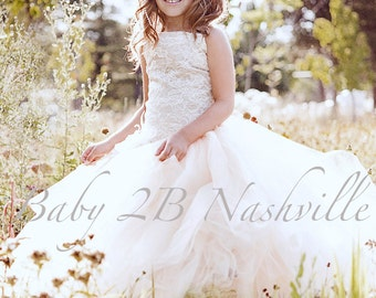 Flower Girl Dress Cream Dress Sequin Dress Lace Dress Ivory Lace Dress Tulle Dress Party Dress Birthday Dress Toddler Tutu Dress Girls Dress