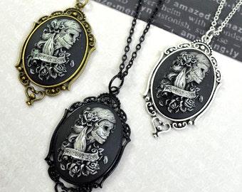 FOREVER LOVE - Dia De Los Muertos Lolita Cameo Necklaces - Black, Silver, or Bronze