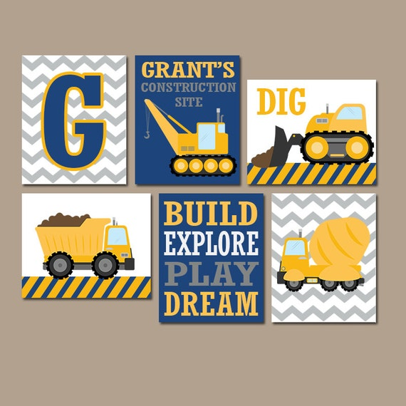 CONSTRUCTION Wall Art CANVAS Or Prints Baby Boy Nursery Art Big Boy