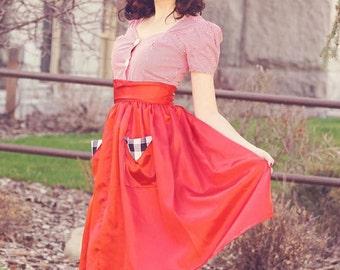 Red Satin Pinup Girl Brigitte Skirt with Buffalo Check Pockets