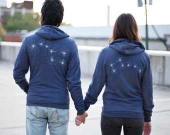 Big Dipper Little Dipper couple hoodies - his and hers zip up hoodie in blue - constellation print - couples shirts - Valentines Day gift