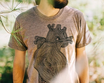 Transplant mens t shirt - mens graphic tee - Valentines Day shirt - anatomical heart with tree rings on heather brown - nature lover shirt
