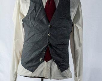 Men's Suit Vest 36 / Vintage Grey Waistcoat / Size 36 Medium  #2095