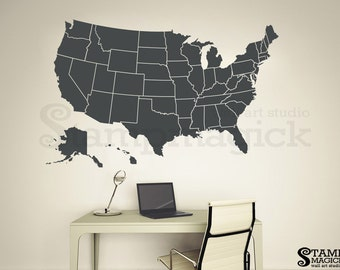 US Map Wall Decal United States Map Decal Children Wall - Us map dry erase