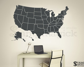 Erasable Us Map Etsy - Us map whiteboard