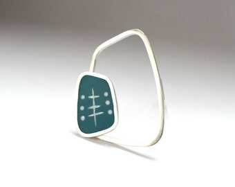Modern Brooch - Teal Blue Brooch - Sculptural Silver Brooch Handmade Gift for Her - The Rectangle Graphico Brooch