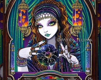 Lumina Gypsy Seer Celestial Astrology Fortune Teller Machine Signed Art Print by Myka Jelina