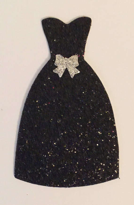 Dress Black Glitter Silver Bow Accent Die Cut Embellishment - Scrapbook Greeting Card Paper Art Craft Mixed Media ATC ACEO - Altered Attic