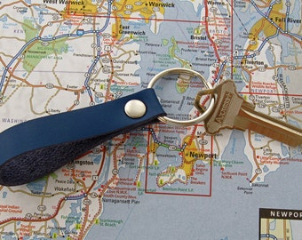 Blue Leather Key Fob Handmade Nautical Leather Goods 3rd Anniversary Gift Royal Blue Keychain Nautical Key Ring Handmade Leather Fob
