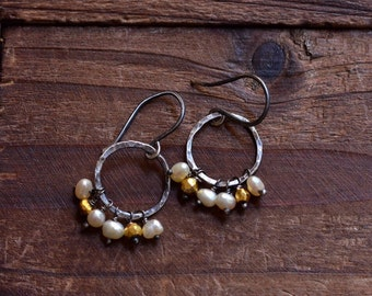 Sterling Silver Pearl Earrings - Gold Pyrite Earrings - Silver Hammered Loop Earrings -Rustic Boho Earrings - Natural Pearl Cluster Earrings