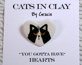 Black & White Cat Heart Shaped Clay Pin Brooch Handmade by Grace M Smith Kiln Fired