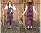 80's tartan plaid jumper / Laura Ashley / Preppy country dress / womens medium