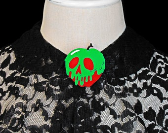 Poison Apple Brooch - Red Apple /You Select Poison Slime Color - Acrylic Laser Cut Pin