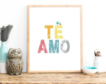 Te Amo Childrens Wall Art, 11x14 Poster Nursery Wall Art, Kid's Art, Kid's Decor, Gender Neutral Nursery, Nature Themed