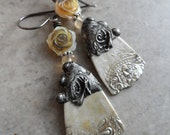 Antique Lace ... Ceramic Charms with Tinwork, Carved Shell Roses and Sterling Silver Wire-Wrapped Boho, Floral Earrings