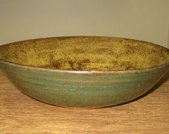 Salad / Soup /Serving Bowl - Green and Gold Stoneware - Free Shipping