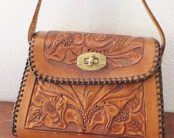 "Vintage Boho Leather Purse Tooled Leather Purse Vintage 1960's Hand Bag Vintage 1970's Small Purse Personalized ""Judy"""