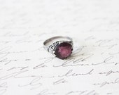 Antique 20s Great Gatsby Ring • 1920s Sterling Silver Ring • Art Deco Purple Amethyst Ring
