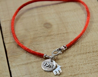 Red String Protection Charm Bracelet in 925 Sterling Silver with Hamsa - Men Women