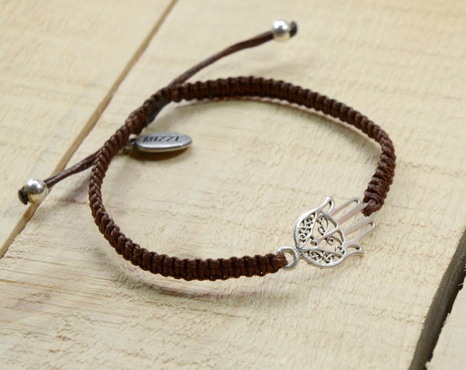 Men's Adjustable Hamsa Bracelet for Good Luck and Protection